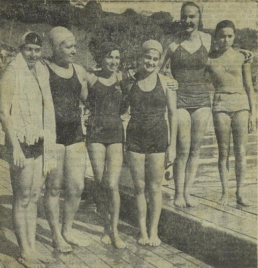 Nadadoras dos 100m livre no Campeonato Brasileiro de 1951. Piedade Coutinho, à esquerda, chegou na 2ª posição. As outras, da esquerda para direita: Leda Carvalho (1ª), Lira de Souza (3ª), Marlene Damiani Pinto (4ª), Isabel Ribeiro (5ª) e Denize Junqueira (6ª).