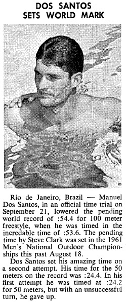 Destaque na revista Swimming World de novembro de 1961 para o recorde quebrado por Manoel dos Santos