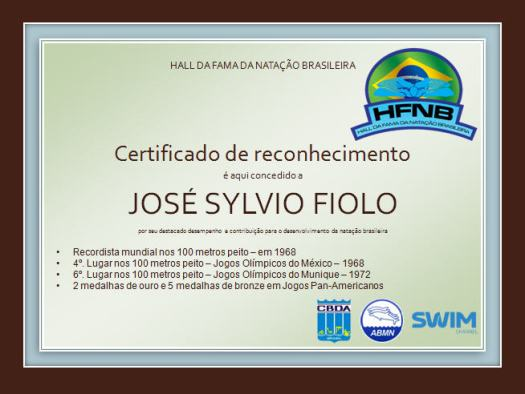 Certificado do Hall da Fama - Fiolo